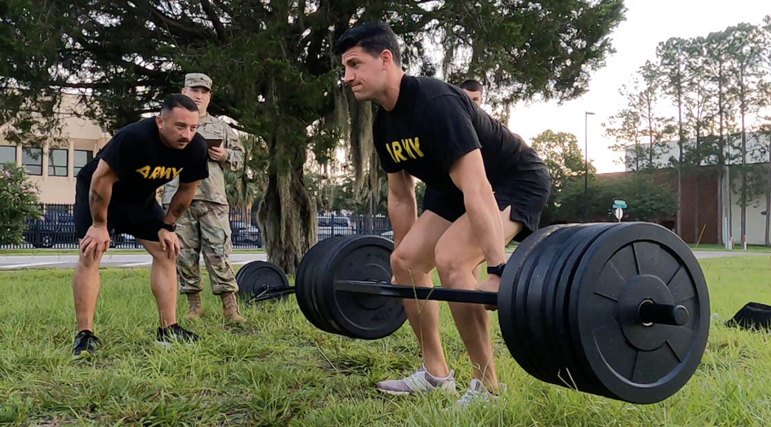 Soldier Chris Kellum perofrming a deadlift for his Posterior Chain Workout
