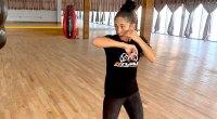 Women's Featherweight Champion Amanda Serrano training shadowboxing in the boxing gym